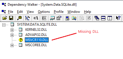 System.Data.SQLite.dll MSVC dll missing